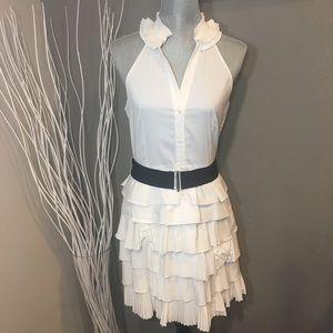 BCBG Max Azria White Tiered Ruffled Dress Size 10